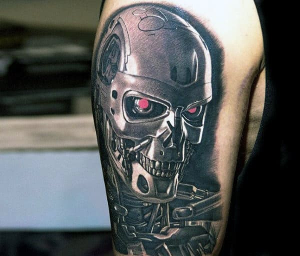 Realistic Metallic Terminator Tattoos For Guys On Arms
