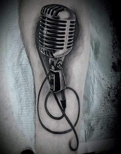 Realistic Mic Tattoo On Arms For Males