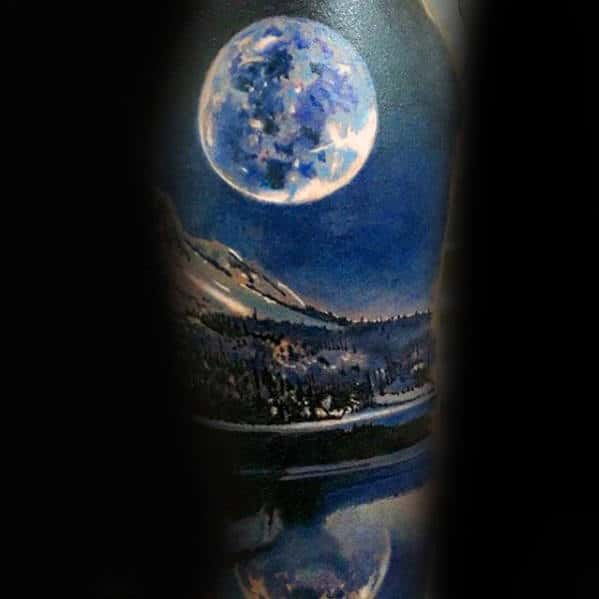 Realistic Moon With Lake Lanscape Guys Sleeve Tattoo