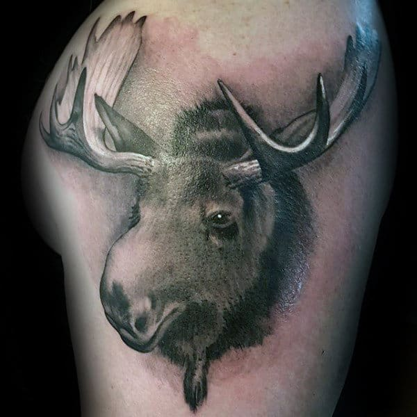Realistic Moose Head Mens Upper Arm Tattoo Shaded Ink