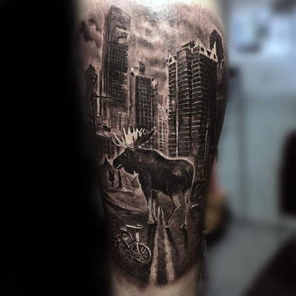 Realistic Moose In City With Skyline Mens Sleeve Tattoo On Leg