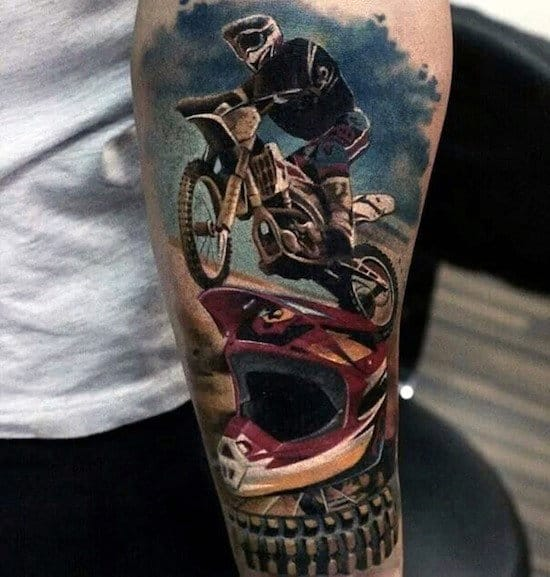 Realistic Motocross Half Sleeve Guys Tattoo