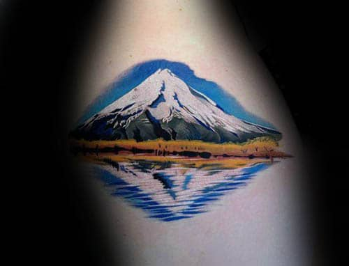 Realistic Mountain With Snow Male Landscape Tattoos