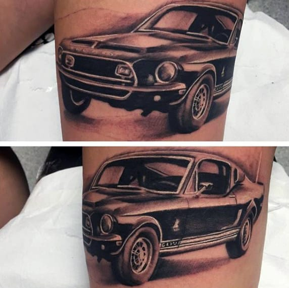 Realistic Mustang Coupe Mens Sports Car Thigh Tattoo Designs