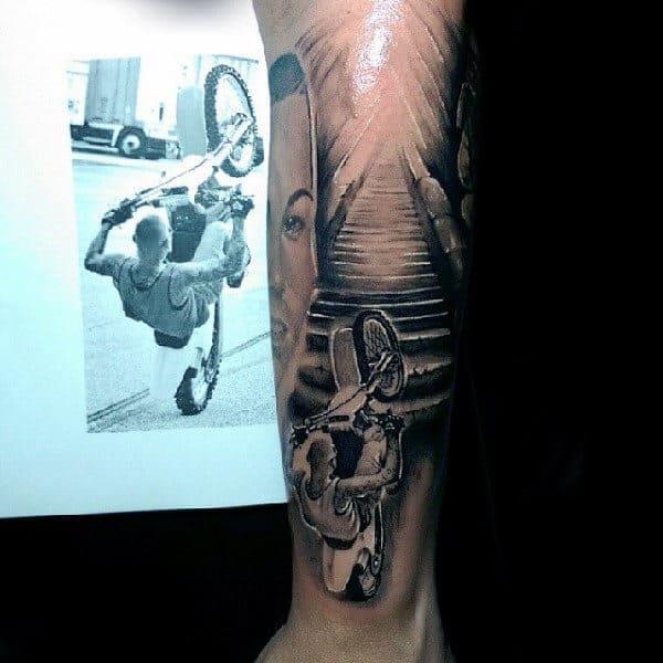 Realistic Mx Motocross Guys Forearm Tattoo