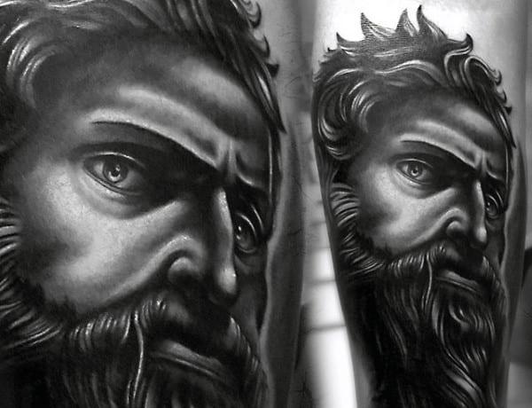 Realistic Mythological God Tattoo For Guys On Arms