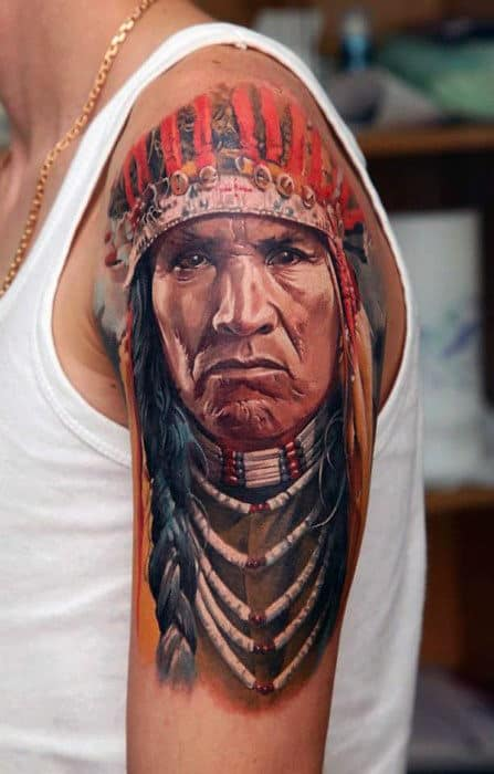 Realistic Native American Tattoo Males Chest