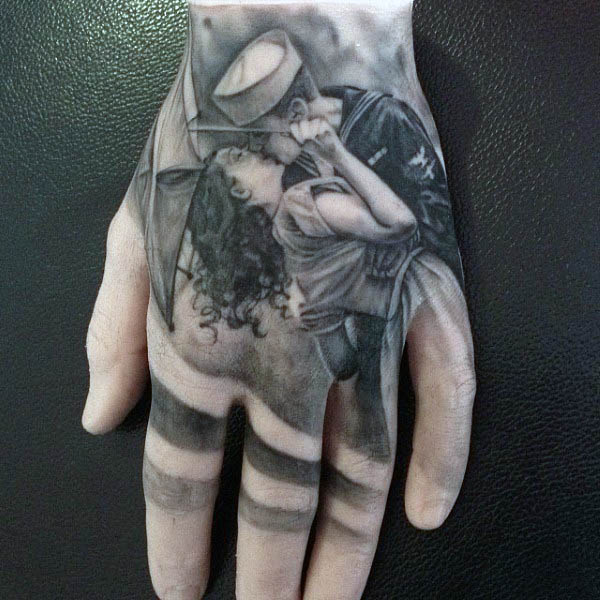 Realistic Navy Sailor Kissing Woman Hand Tatto For Men