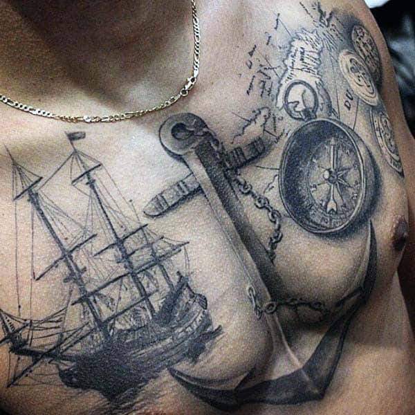 Realistic Nice Mens Anchor Nautical Themed Upper Chest Tattoos