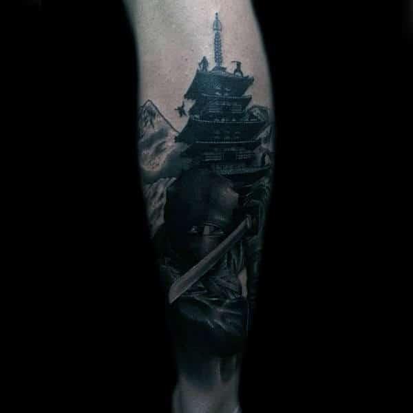 Realistic Ninja Mens Forearm Sleeve Tattoo Design Inspiration