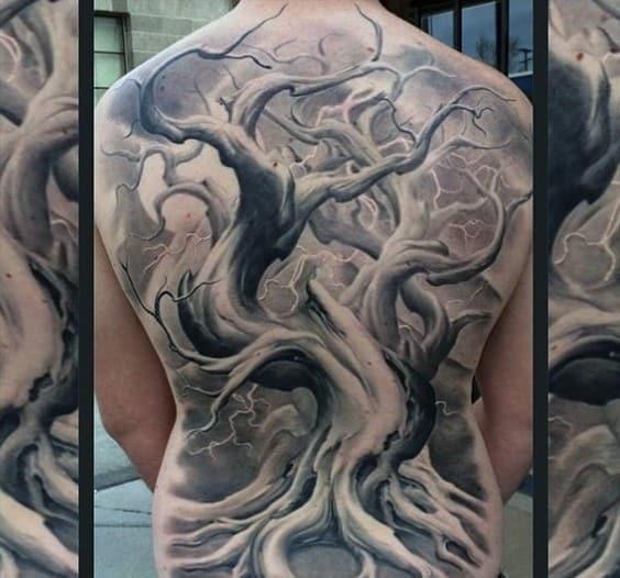 Realistic Oak Tree Male Tattoos Full Back