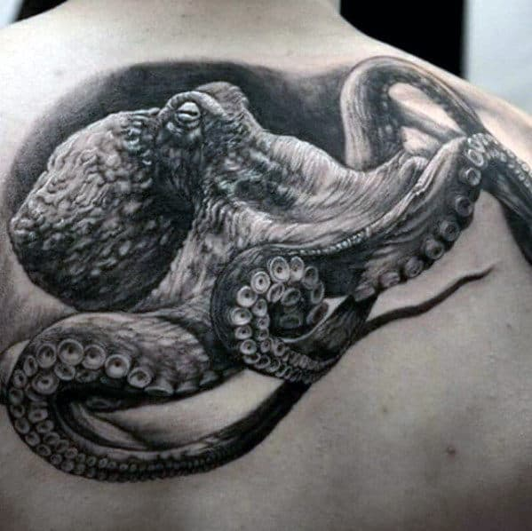 Realistic Octopus Shaded Black And Grey Ink Mens Upper Back Tattoo