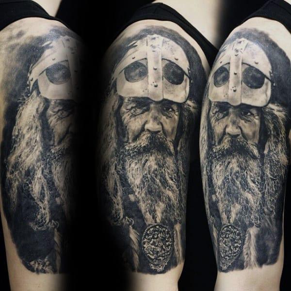 Realistic Odin Mens Portrait Arm Tattoo Ideas