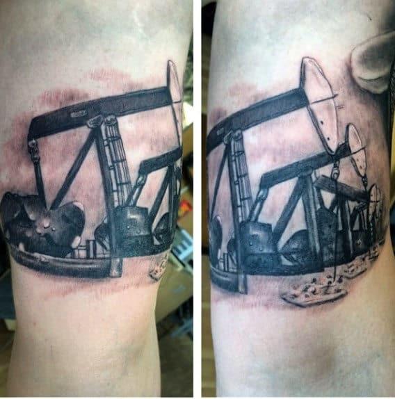 Realistic Oilfield Pumpjack Mens Arm Tattoo