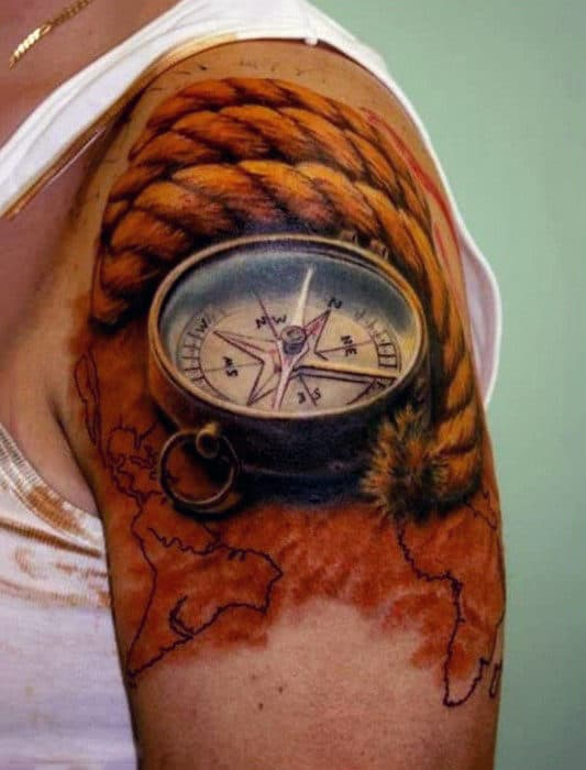 Realistic Optical Illusion Rope With Compass Mens Upper Arm Tattoos