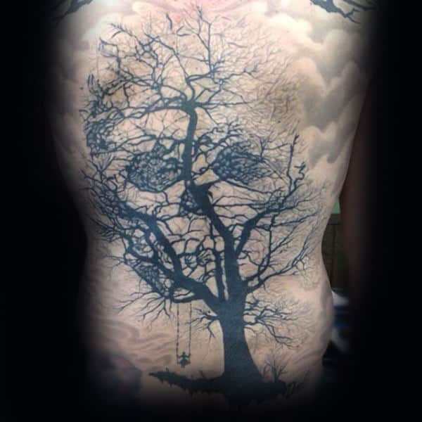 Realistic Optical Illusion Tree Skull Mens Back Tattoo