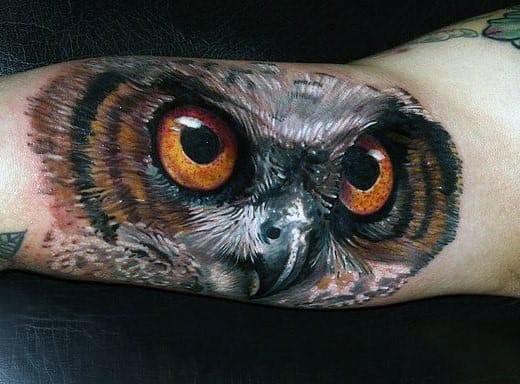 Realistic Owl Eye Tattoo Mens Forearm