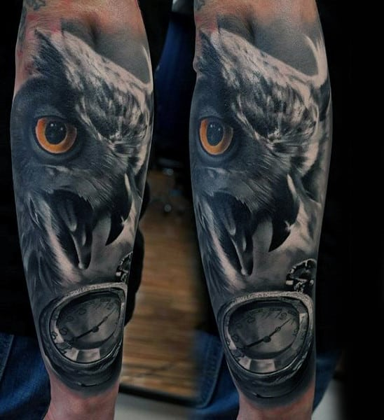 Realistic Owl Pocket Watch Forearm Sleeve Tattoos For Guys