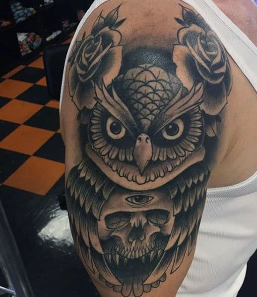 Realistic Owl Tattoo For Males