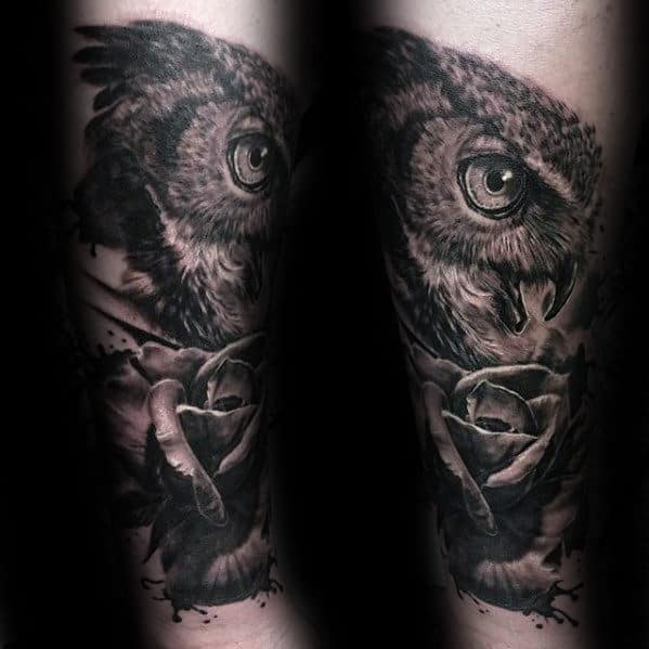 Realistic Owl With Rose Flower Forearm Tattoos For Males