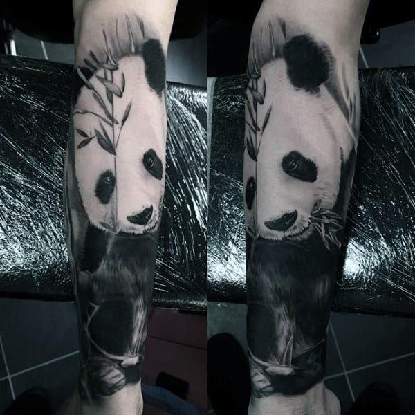 Realistic Panda Bear Mens Leg Sleeve Tattoos