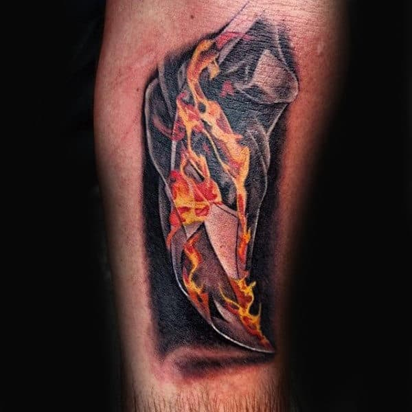 Realistic Paper On Fire Mens Arm Tattoo