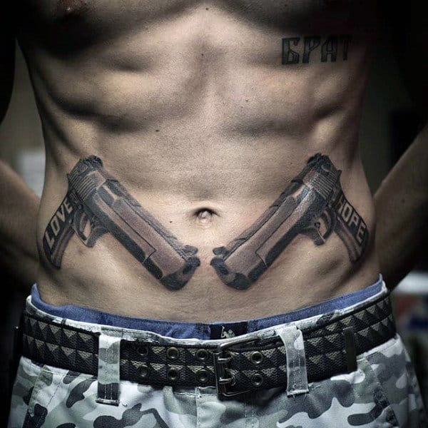 Realistic Pistol Tattoos On Stomach For Men