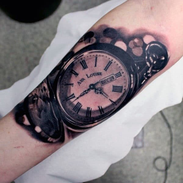 Realistic Pocket Watch Inner Forearm Tattoo Designs For Men