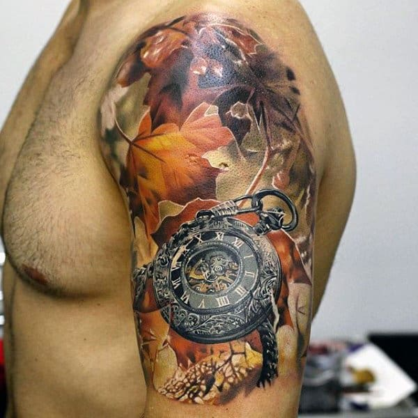 Realistic Pocket Watch With Fall Leaves Mens Half Sleeve 3d Tattoos