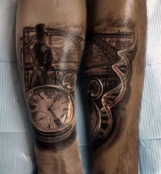 Realistic Pocket Watch With Man Looking Over Bridge Tattoo On Forearms Male