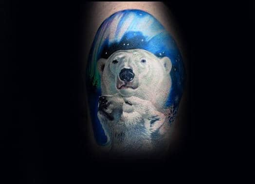 Realistic Polar Bears Mens Arm Tattoo