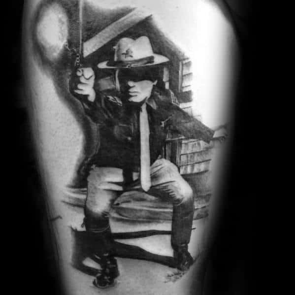 Realistic Police Officer Scene Mens Thigh Tattoo