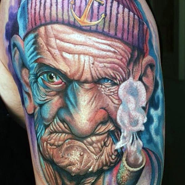 Realistic Popeye Half Sleeve Guys Tattoos