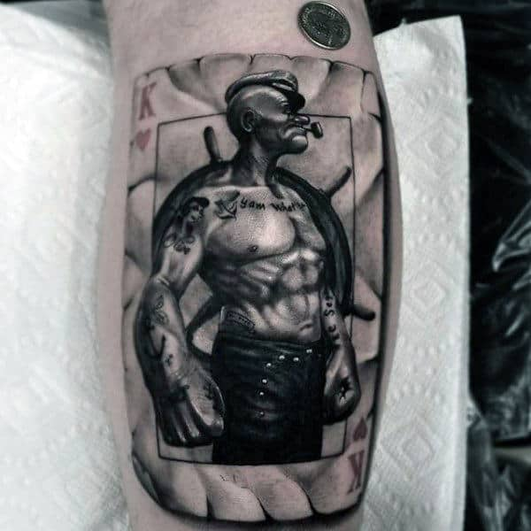 Realistic Popeye Playing Card Guys Bicep Tattoo