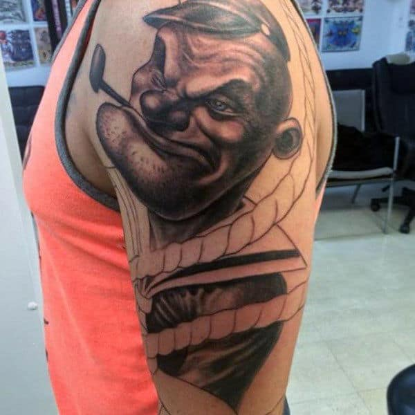 Realistic Popeye Pope Mens Upper Arm Tattoo