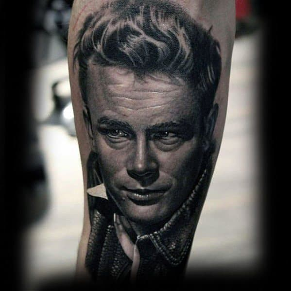 Realistic Portrait 3d James Dean Male Tattoos
