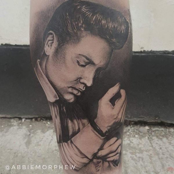 Realistic Portrait Of Elvis Presley Tattoos Male