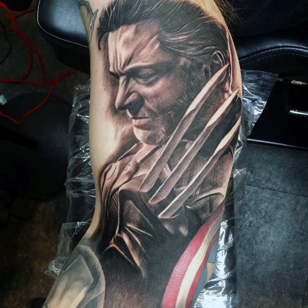 Realistic Portrait Of James Howlett Guys Wolverine Arm Tattoos