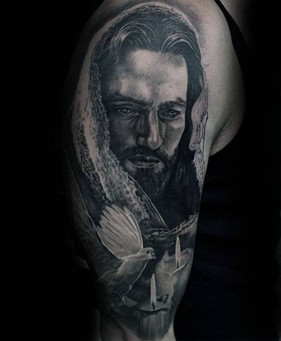 Realistic Portrait Of Jesus With 3d Dove Mens Half Sleeve Tattoo Ideas