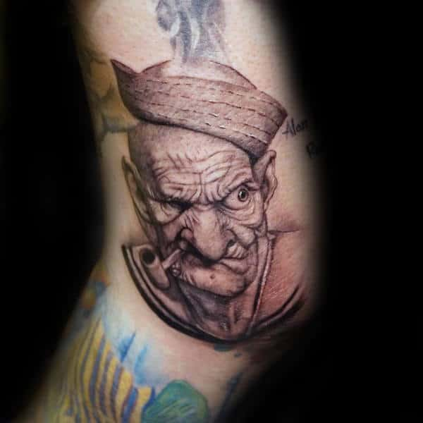 Realistic Portrait Of Popeye Male Leg Tattoo