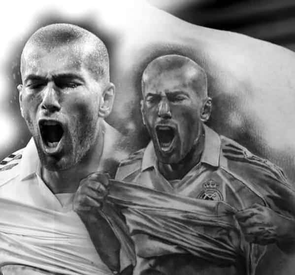 Realistic Portrait Of Soccer Player Male Cool Real Madrid Tattoo Ideas On Back