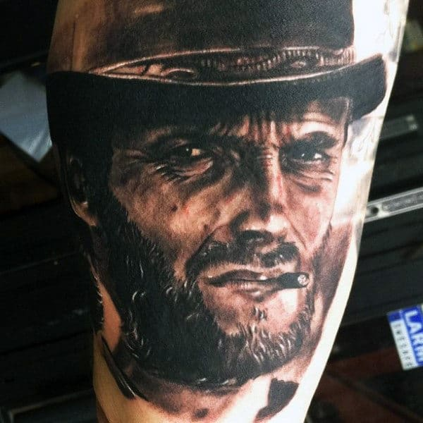 Realistic Portrait Tattoo Of Western Man Smoking Cigar Tattoo For Guys