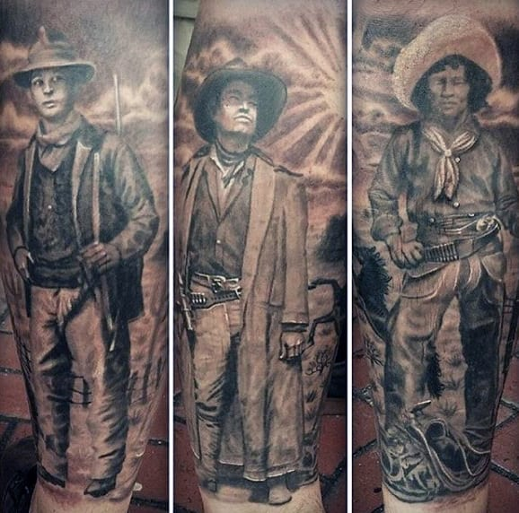 Realistic Portrait Tattoos Of Cowboys In Black And Grey Shaded On Men