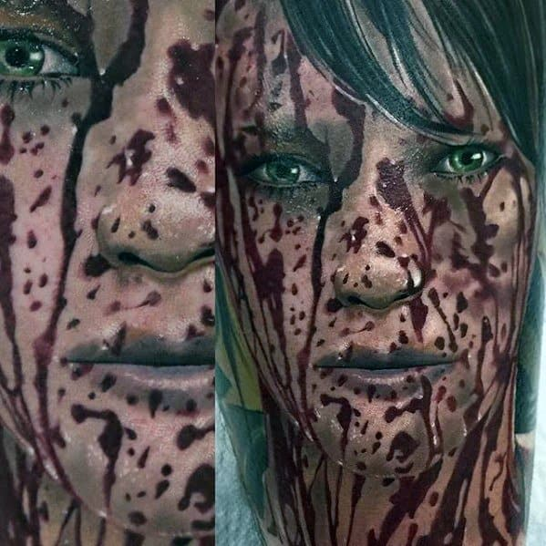Realistic Portrait Video Game Mens Tattoo Ideas With Quiet Metal Gear Design