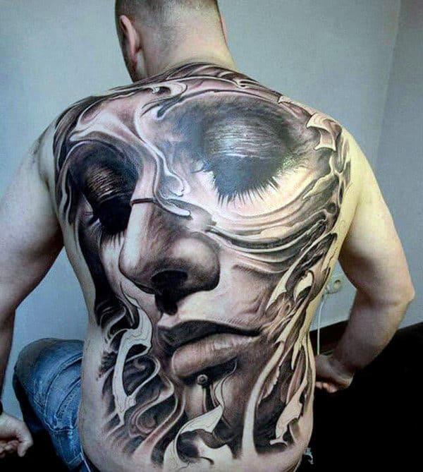 Realistic Profile Of Depressed Lady Tattoo Mens Full Back