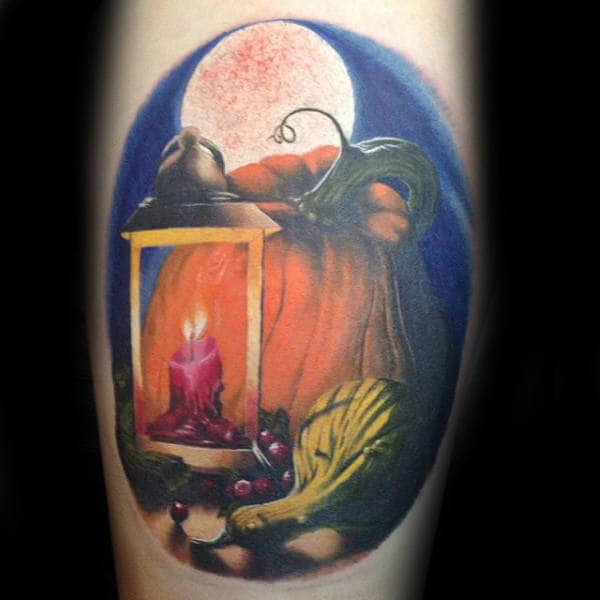 Realistic Pumpkin With Lantern And Moon Mens Tattoos On Arm