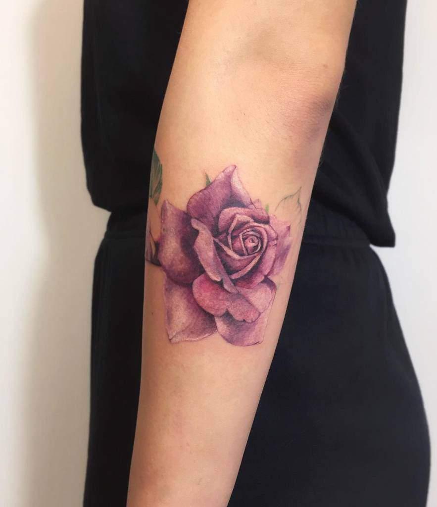 realistic purple rose tattoos noemesystattoo