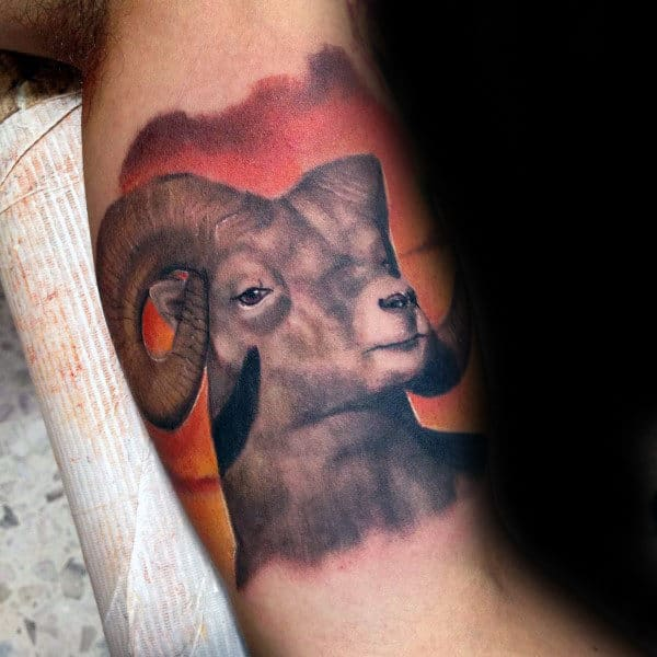 Realistic Ram Watercolor Male Bicep Inner Arm Tattoos