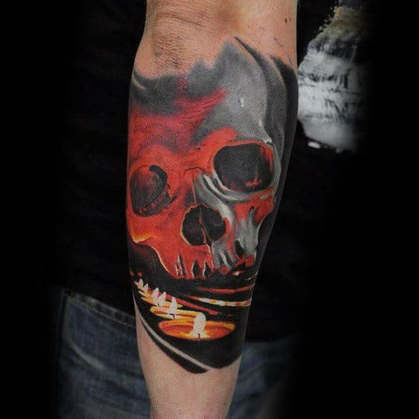 Realistic Red Ink Skull With Candles Forearm Sleeve Mens Tattoos