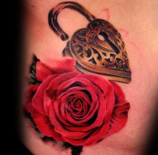Realistic Red Rose Flower With Gold Heart Lock Mens Rib Cage Side Tattoo